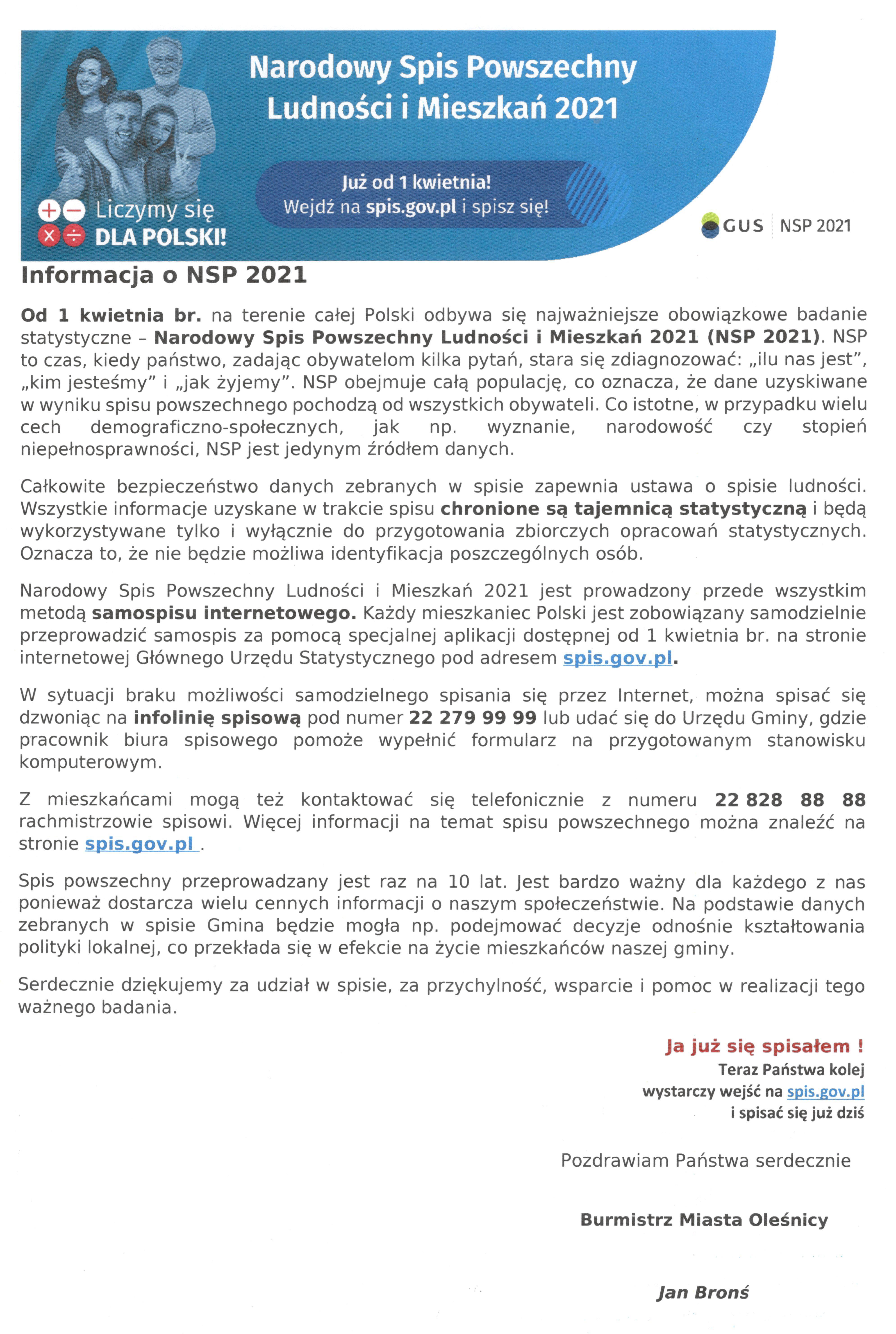 NSP - informacja na stronę